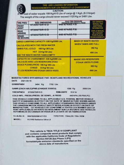 2021 Cruiser Rv RADIANCE ULTRA-LITE R-21RB in Mandan, North Dakota 58554