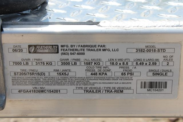 2021 Featherlite 3182 18' BUMPER PULL OPEN CAR TRAILER CONROE, TX 19