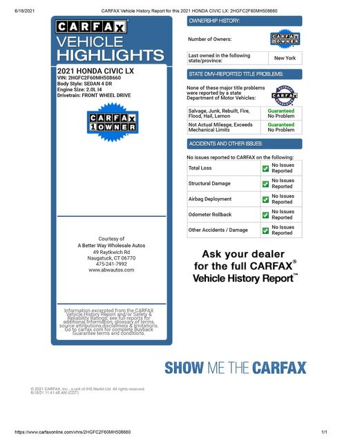 2021 Honda Civic LX Naugatuck, Connecticut 1