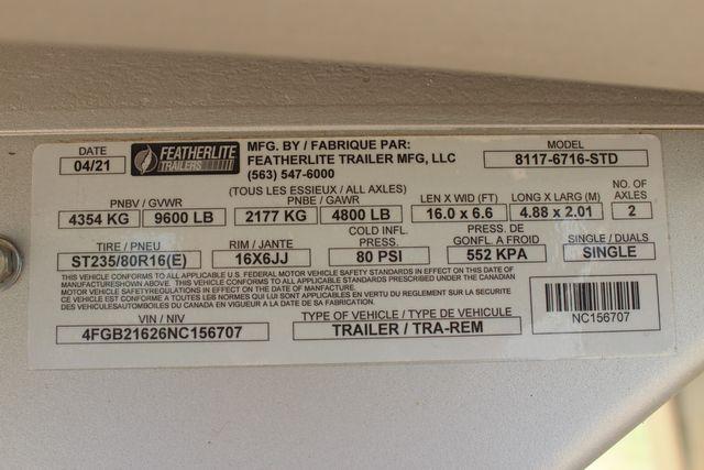 """2022 Featherlite 8117 - 16' LIVESTOCK 6'7""""W X 16'L X 6'6""""T CUT GATE 3 AIR GAPS in Conroe, TX 77384"""